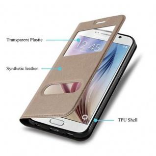 Cadorabo Hülle für Samsung Galaxy S6 in STEIN BRAUN - Handyhülle mit Magnetverschluss, Standfunktion und 2 Sichtfenstern - Case Cover Schutzhülle Etui Tasche Book Klapp Style - Vorschau 3