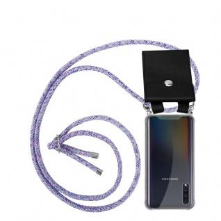 Cadorabo Handy Kette für Samsung Galaxy A50 in UNICORN - Silikon Necklace Umhänge Hülle mit Silber Ringen, Kordel Band Schnur und abnehmbarem Etui - Schutzhülle