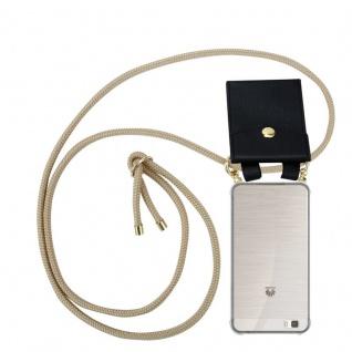 Cadorabo Handy Kette für Huawei P8 LITE 2015 in GLÄNZEND BRAUN - Silikon Necklace Umhänge Hülle mit Gold Ringen, Kordel Band Schnur und abnehmbarem Etui ? Schutzhülle