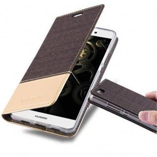 Cadorabo Hülle für Huawei P8 LITE 2015 in ANTRAZIT GOLD - Handyhülle mit Magnetverschluss, Standfunktion und Kartenfach - Case Cover Schutzhülle Etui Tasche Book Klapp Style