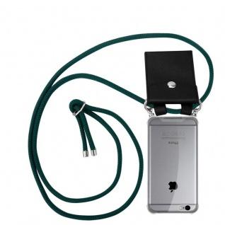 Cadorabo Handy Kette für Apple iPhone 6 PLUS / iPhone 6S PLUS in ARMEE GRÜN - Silikon Necklace Umhänge Hülle mit Silber Ringen, Kordel Band Schnur und abnehmbarem Etui - Schutzhülle