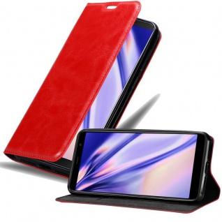 Cadorabo Hülle für MEIZU M6T in APFEL ROT Handyhülle mit Magnetverschluss, Standfunktion und Kartenfach Case Cover Schutzhülle Etui Tasche Book Klapp Style