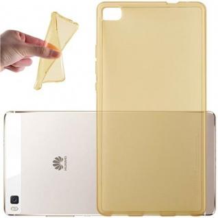 Cadorabo Hülle für Huawei P8 in TRANSPARENT GOLD - Handyhülle aus flexiblem TPU Silikon - Silikonhülle Schutzhülle Ultra Slim Soft Back Cover Case Bumper