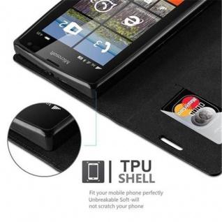 Cadorabo Hülle für Nokia Lumia 435 in NACHT SCHWARZ - Handyhülle mit Magnetverschluss, Standfunktion und Kartenfach - Case Cover Schutzhülle Etui Tasche Book Klapp Style - Vorschau 3