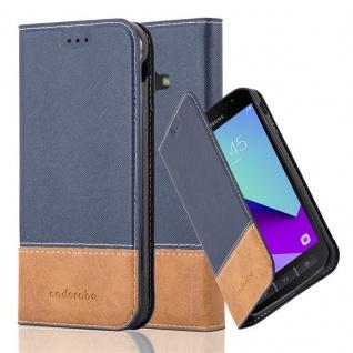 Cadorabo Hülle für Samsung Galaxy XCOVER 4 in BLAU BRAUN ? Handyhülle mit Magnetverschluss, Standfunktion und Kartenfach ? Case Cover Schutzhülle Etui Tasche Book Klapp Style