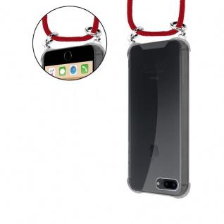 Cadorabo Handy Kette für Apple iPhone 8 PLUS / 7 PLUS / 7S PLUS in RUBIN ROT - Silikon Necklace Umhänge Hülle mit Silber Ringen, Kordel Band Schnur und abnehmbarem Etui - Schutzhülle - Vorschau 5