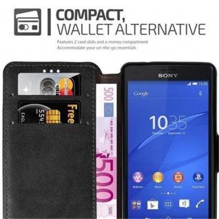 Cadorabo Hülle für Sony Xperia Z3 COMPACT - Hülle in MATT SCHWARZ - Handyhülle mit Standfunktion und Kartenfach im Retro Design - Case Cover Schutzhülle Etui Tasche Book Klapp Style