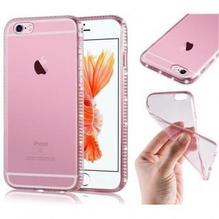 Cadorabo Hülle für Apple iPhone 6 PLUS / iPhone 6S PLUS - Hülle in TRANSPARENT ROSA ? Handyhülle aus TPU Silikon im Strass Design - Ultra Slim Soft Backcover Case Bumper