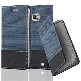 Cadorabo Hülle für Samsung Galaxy S2 / S2 PLUS in DUNKEL BLAU SCHWARZ - Handyhülle mit Magnetverschluss, Standfunktion und Kartenfach - Case Cover Schutzhülle Etui Tasche Book Klapp Style