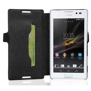 Cadorabo Hülle für Sony Xperia C - Hülle in ICY SCHWARZ ? Handyhülle mit Standfunktion und Kartenfach im Ultra Slim Design - Case Cover Schutzhülle Etui Tasche Book