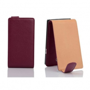 Cadorabo Hülle für Sony Xperia T in BORDEAUX LILA - Handyhülle im Flip Design aus strukturiertem Kunstleder - Case Cover Schutzhülle Etui Tasche Book Klapp Style - Vorschau 2