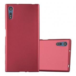 Cadorabo Hülle für Sony Xperia XZ / XZs - Hülle in METALLIC ROT ? Handyhülle aus TPU Silikon im Matt Metallic Design - Ultra Slim Soft Backcover Case Bumper
