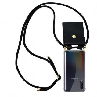 Cadorabo Handy Kette für Samsung Galaxy A30S in SCHWARZ Silikon Necklace Umhänge Hülle mit Gold Ringen, Kordel Band Schnur und abnehmbarem Etui Schutzhülle