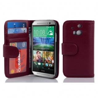 Cadorabo Hülle für HTC ONE M8 (2. Gen.) in BORDEAUX LILA - Handyhülle mit Magnetverschluss und 3 Kartenfächern - Case Cover Schutzhülle Etui Tasche Book Klapp Style