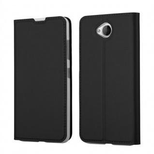 Cadorabo Hülle für Nokia Lumia 650 in CLASSY SCHWARZ - Handyhülle mit Magnetverschluss, Standfunktion und Kartenfach - Case Cover Schutzhülle Etui Tasche Book Klapp Style