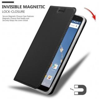 Cadorabo Hülle für Motorola NEXUS 6 in CLASSY SCHWARZ - Handyhülle mit Magnetverschluss, Standfunktion und Kartenfach - Case Cover Schutzhülle Etui Tasche Book Klapp Style - Vorschau 3