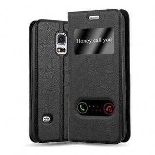 Cadorabo Hülle für Samsung Galaxy S5 / S5 NEO in KOMETEN SCHWARZ - Handyhülle mit Magnetverschluss, Standfunktion und 2 Sichtfenstern - Case Cover Schutzhülle Etui Tasche Book Klapp Style
