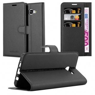 Cadorabo Hülle für Samsung Galaxy A7 2016 in PHANTOM SCHWARZ - Handyhülle mit Magnetverschluss, Standfunktion und Kartenfach - Case Cover Schutzhülle Etui Tasche Book Klapp Style