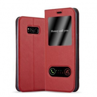 Cadorabo Hülle für Samsung Galaxy S8 in SAFRAN ROT Handyhülle mit Magnetverschluss, Standfunktion und 2 Sichtfenstern Case Cover Schutzhülle Etui Tasche Book Klapp Style