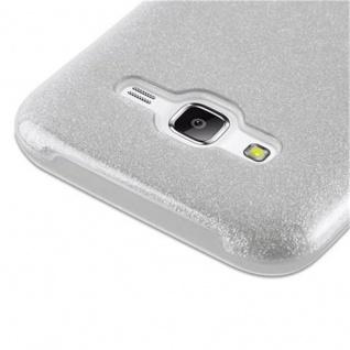 Cadorabo Hülle für Samsung Galaxy J5 2015 - Hülle in STERNENSTAUB SILBER ? TPU Silikon und Hardcase Handyhülle im Glitzer Design - Hard Case TPU Silikon Schutzhülle - Vorschau 5