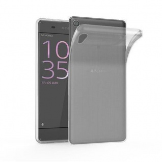 Cadorabo Hülle für Sony Xperia XA1 in VOLL TRANSPARENT - Handyhülle aus flexiblem TPU Silikon - Silikonhülle Schutzhülle Ultra Slim Soft Back Cover Case Bumper