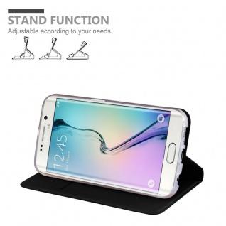 Cadorabo Hülle für Samsung Galaxy S6 EDGE PLUS in CLASSY SCHWARZ - Handyhülle mit Magnetverschluss, Standfunktion und Kartenfach - Case Cover Schutzhülle Etui Tasche Book Klapp Style - Vorschau 4