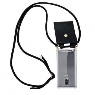 Cadorabo Handy Kette für Samsung Galaxy NOTE 4 in SCHWARZ ? Silikon Necklace Umhänge Hülle mit Gold Ringen, Kordel Band Schnur und abnehmbarem Etui ? Schutzhülle