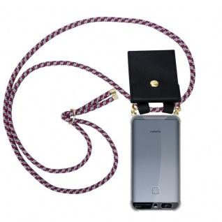 Cadorabo Handy Kette für Huawei P9 in ROT WEISS Silikon Necklace Umhänge Hülle mit Gold Ringen, Kordel Band Schnur und abnehmbarem Etui Schutzhülle