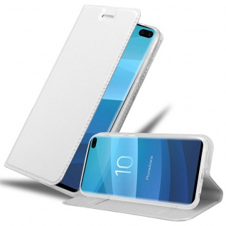 Cadorabo Hülle für Samsung Galaxy S10 PLUS in CLASSY SILBER - Handyhülle mit Magnetverschluss, Standfunktion und Kartenfach - Case Cover Schutzhülle Etui Tasche Book Klapp Style