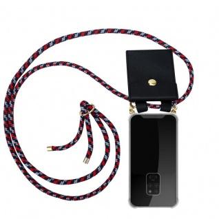 Cadorabo Handy Kette für Huawei MATE 20 in ROT BLAU WEISS - Silikon Necklace Umhänge Hülle mit Gold Ringen, Kordel Band Schnur und abnehmbarem Etui ? Schutzhülle