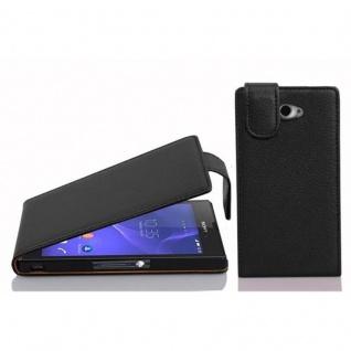 Cadorabo Hülle für Sony Xperia M2 / M2 Aqua in OXID SCHWARZ - Handyhülle im Flip Design aus strukturiertem Kunstleder - Case Cover Schutzhülle Etui Tasche Book Klapp Style