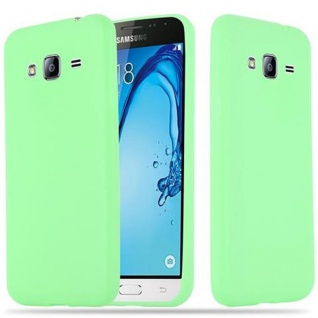 Cadorabo Hülle für Samsung Galaxy J3 2015 in CANDY PASTELL GRÜN - Handyhülle aus flexiblem TPU Silikon - Silikonhülle Schutzhülle Ultra Slim Soft Back Cover Case Bumper