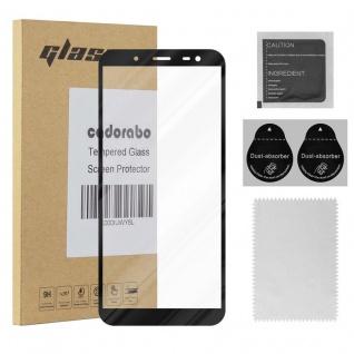 Cadorabo Vollbild Panzer Folie für Samsung Galaxy J6 2018 - Schutzfolie in TRANSPARENT mit SCHWARZ - Gehärtetes (Tempered) Display-Schutzglas in 9H Härte mit 3D Touch Kompatibilität