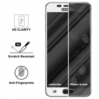 Cadorabo Vollbild Panzer Folie für Samsung Galaxy A7 2016 - Schutzfolie in TRANSPARENT mit WEISS - Gehärtetes (Tempered) Display-Schutzglas in 9H Härte mit 3D Touch Kompatibilität - Vorschau 3