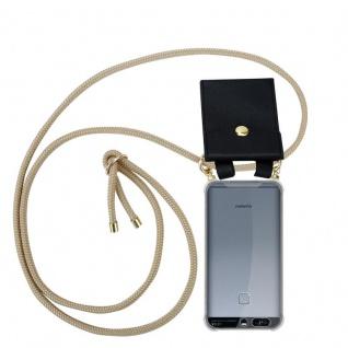 Cadorabo Handy Kette für Huawei P9 in GLÄNZEND BRAUN Silikon Necklace Umhänge Hülle mit Gold Ringen, Kordel Band Schnur und abnehmbarem Etui Schutzhülle