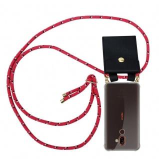 Cadorabo Handy Kette für Nokia 7 PLUS in PINK SCHWARZ WEISS GEPUNKTET Silikon Necklace Umhänge Hülle mit Gold Ringen, Kordel Band Schnur und abnehmbarem Etui Schutzhülle