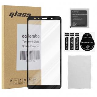 Cadorabo Vollbild Panzer Folie für Samsung Galaxy A7 2018 - Schutzfolie in TRANSPARENT mit SCHWARZ - Gehärtetes (Tempered) Display-Schutzglas in 9H Härte mit 3D Touch Kompatibilität