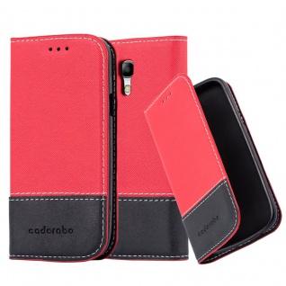 Cadorabo Hülle für Samsung Galaxy S3 MINI in ROT SCHWARZ ? Handyhülle mit Magnetverschluss, Standfunktion und Kartenfach ? Case Cover Schutzhülle Etui Tasche Book Klapp Style