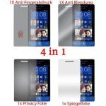 Cadorabo Displayschutzfolien für HTC 8S - Schutzfolien in HIGH CLEAR - 4 Folien (1x Privacy - 1x Spiegel - 1x Matt - 1x Anti-Fingerabdruck)