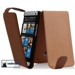 Cadorabo Hülle für HTC ONE M7 (1.Gen.) - Hülle in KAKAO BRAUN â€? Handyhülle aus glattem Kunstleder im Flip Design - Case Cover Schutzhülle Etui Tasche