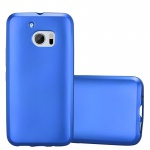 Cadorabo Hülle für HTC 10 (One M10) - Hülle in METALLIC BLAU - Handyhülle aus TPU Silikon im Matt Metallic Design - Silikonhülle Schutzhülle Ultra Slim Soft Back Cover Case Bumper