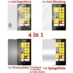 Cadorabo Displayschutzfolien für Nokia Lumia 520 - Schutzfolien in HIGH CLEAR - 4 Folien (1x Privacy - 1x Spiegel - 1x Matt - 1x Anti-Fingerabdruck)