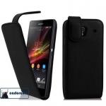 Cadorabo Hülle für Sony Xperia Z (1.Gen.) - Hülle in KAVIAR SCHWARZ ? Handyhülle aus glattem Kunstleder im Flip Design - Case Cover Schutzhülle Etui Tasche