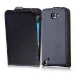 Cadorabo Hülle für Samsung Galaxy NOTE (1. Gen.) - Hülle in KAVIAR SCHWARZ â€? Handyhülle aus glattem Kunstleder im Flip Design - Case Cover Schutzhülle Etui Tasche