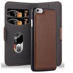 Cadorabo Hülle für Apple iPhone 6 / iPhone 6S - Hülle in ANTIK BRAUN ? Handyhülle im 2-in-1 Design mit Standfunktion und Kartenfach - Hard Case Book Etui Schutzhülle Tasche Cover