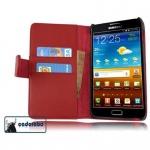 Cadorabo Hülle für Samsung Galaxy NOTE 1 - Hülle in CHILI ROT ? Handyhülle mit Kartenfach aus glattem Kunstleder - Case Cover Schutzhülle Etui Tasche Book Klapp Style