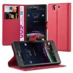 Cadorabo Hülle für Sony Xperia Z (1.Gen.) - Hülle in KARMIN ROT ? Handyhülle mit Kartenfach und Standfunktion - Case Cover Schutzhülle Etui Tasche Book Klapp Style