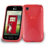 Cadorabo Hülle für LG L40 (1. Sim-Version) in INFERNO ROT - Handyhülle aus flexiblem TPU Silikon - Silikonhülle Schutzhülle Ultra Slim Soft Back Cover Case Bumper
