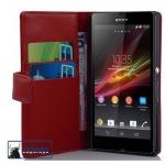 Cadorabo Hülle für Sony Xperia Z (1.Gen.) - Hülle in CHILI ROT ? Handyhülle mit Kartenfach aus glattem Kunstleder - Case Cover Schutzhülle Etui Tasche Book Klapp Style