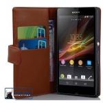 Cadorabo Hülle für Sony Xperia Z (1.Gen.) - Hülle in KAKAO BRAUN ? Handyhülle mit Kartenfach aus glattem Kunstleder - Case Cover Schutzhülle Etui Tasche Book Klapp Style